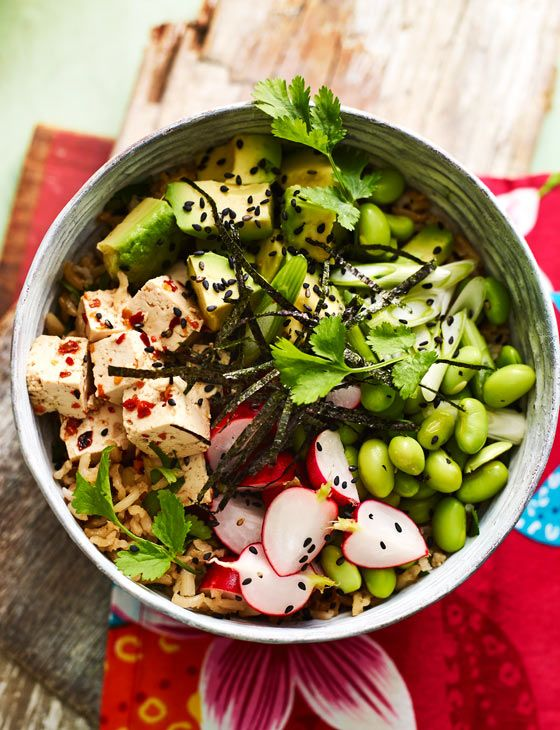 Hawaiian poke with tofu and avocado recipe - try this veggie tofu avocado bowl for a light and refreshing lunch.