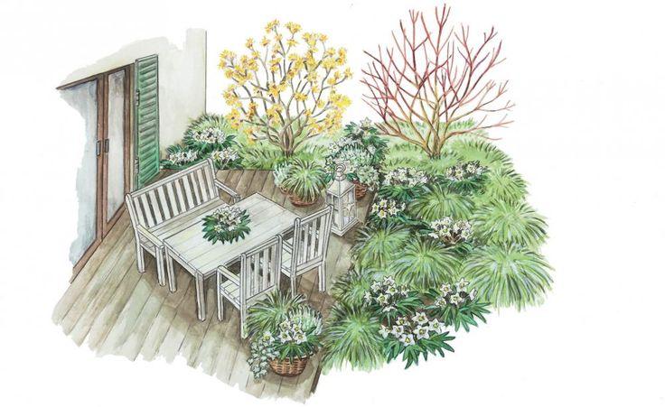Mit den richtigen Gestaltungsideen ist der Blick aus dem Terrassenfenster auch im Winter noch erfreulich