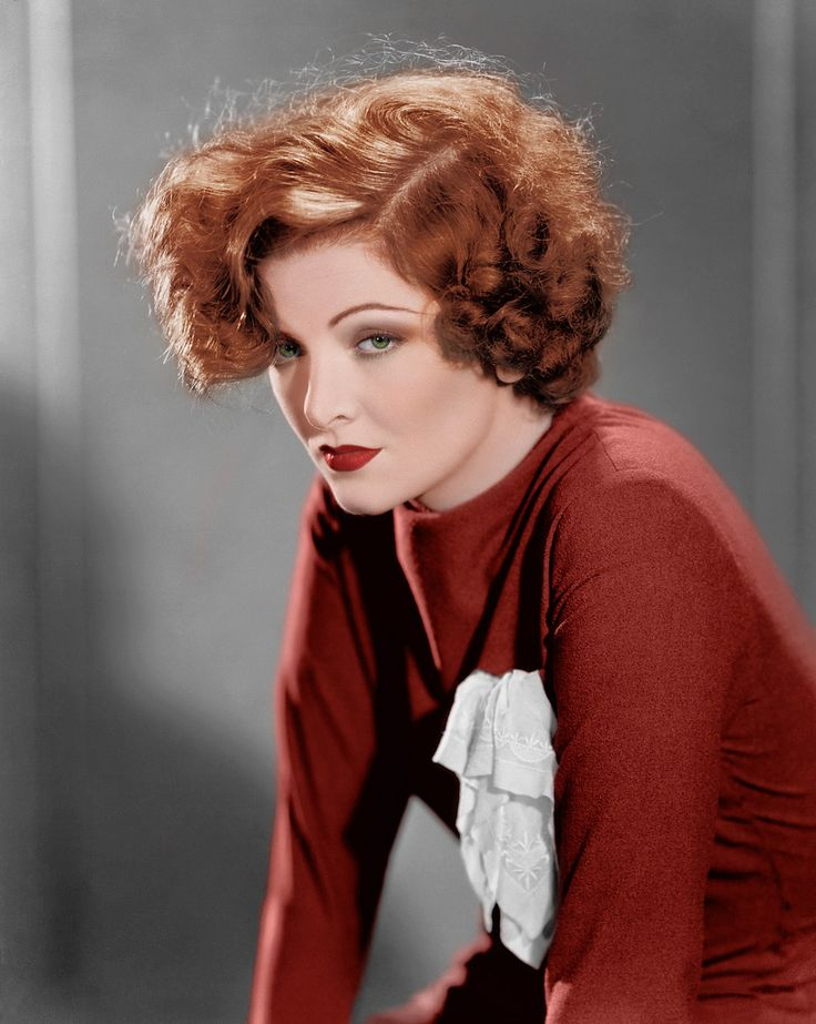 Myrna Loy 30s 40s portrait color red hair dress