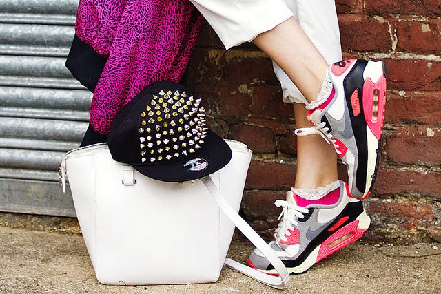 accessories: white boxy zara bag, black studded cap, Nike air trainers with pink lace trim socks and pink Nike sports jacket by Shiny Thoughts  in 'Take10 x Ray-Ban at Shadestation'