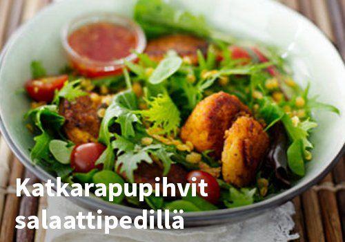 Katkarapupihvit salaattipedillä  Resepti. Finefoods #kauppahalli24 #ruoka #resepti #katkarapupihvit