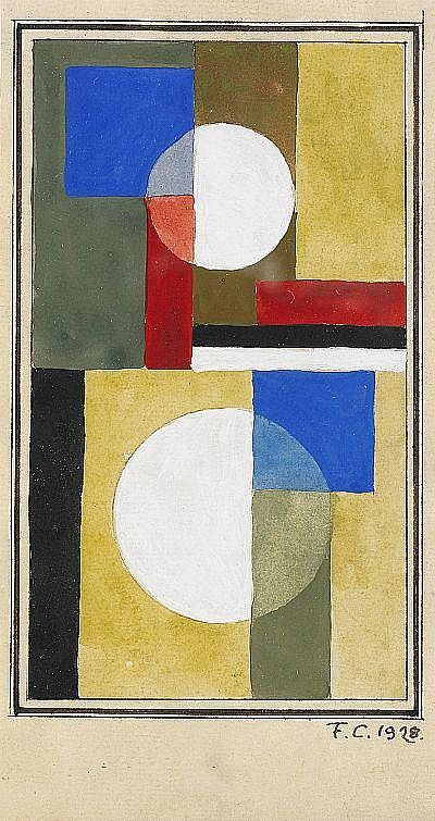 FRANCISKA CLAUSEN Danmark 1899-1986 Komposition Signerad och daterad F.C 1928. Gouache på papper, 16,5 x 9,5 cm. Signed and dated. Gouache on paper.