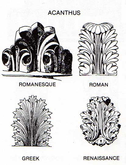 Drawings of 4 types of acanthus leaves: Roman /. Greek / Roman / Romanesque / Renaissance