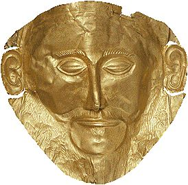 Gold death-mask, known as the 'mask of Agamemnon'. Mycenae, Grave Circle A, Grave V, 16th cent. BC.