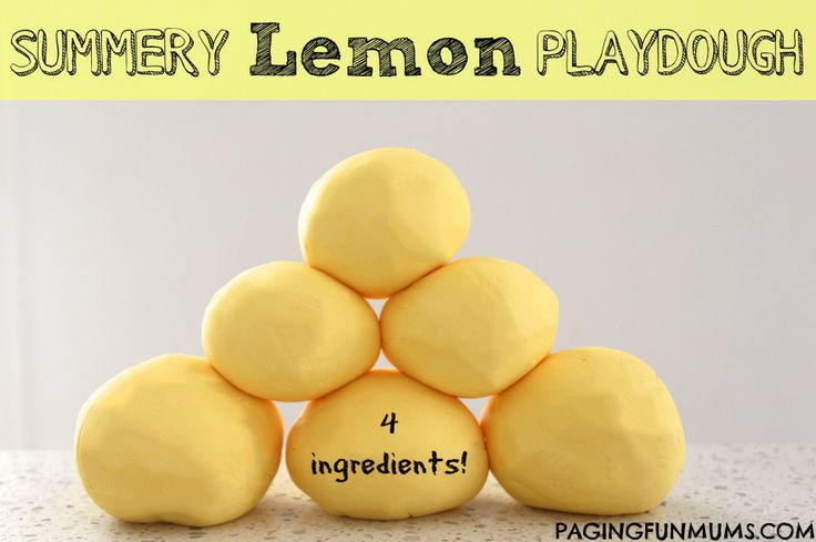Summery Lemon Playdough. A beautifully smelling, 4 ingredient, no cook recipe!