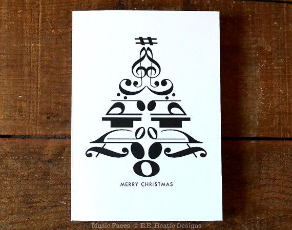 Set of 10 Music note Christmas cards 5x7 CHRISTMAS by eeheatie