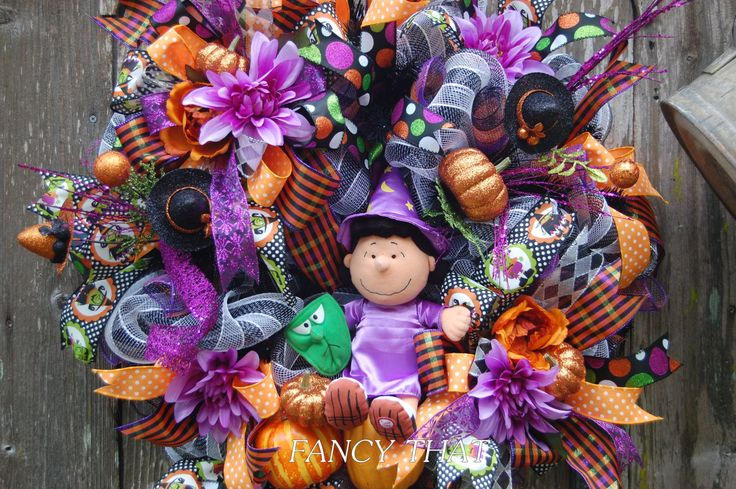 cheapest online glasses Lucy Van Pelt Halloween  Peanuts Gang Halloween Wreath  Halloween Wreath  Deco Mesh Halloween Wreath   pinned by pin4etsy com