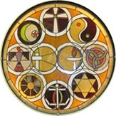 Unitarian Universalist -   Recognizing that no religion has a monopoly on the truth but that all traditions have something to teach us about the nature of Life and Love, we feature a collection of world relgious symbols at the heart of our sanctuary.   The Universalist Cross and the UU Flaming Chalice interlock side-by-side and are flanked by symbols representing (clockwise from the top) Christianity, Taoism, Wicca, Judaism, Sikhism, Buddhism, Native American spirituality and Islam.