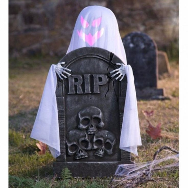 Animated Halloween Props Motion-Activated Peeping Ghost With Tombstone Labor Day…