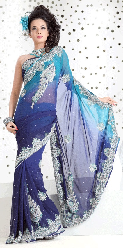 Navy Blue Color Faux Georgette Saree
