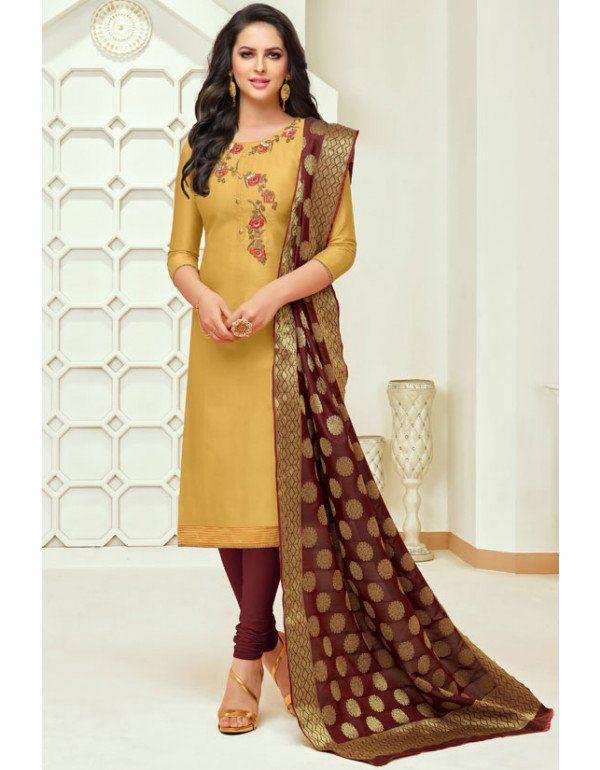 32c78dab9b Mustard Silk Suit with Banarasi Dupatta | Casual Salwar Kameez in ...