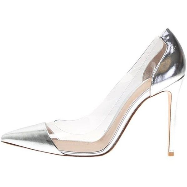 Silver Leather Pumps ($360) ❤ liked on Polyvore featuring shoes, pumps, metallic, high heeled footwear, see-through shoes, silver shoes, genuine leather shoes and transparent shoes