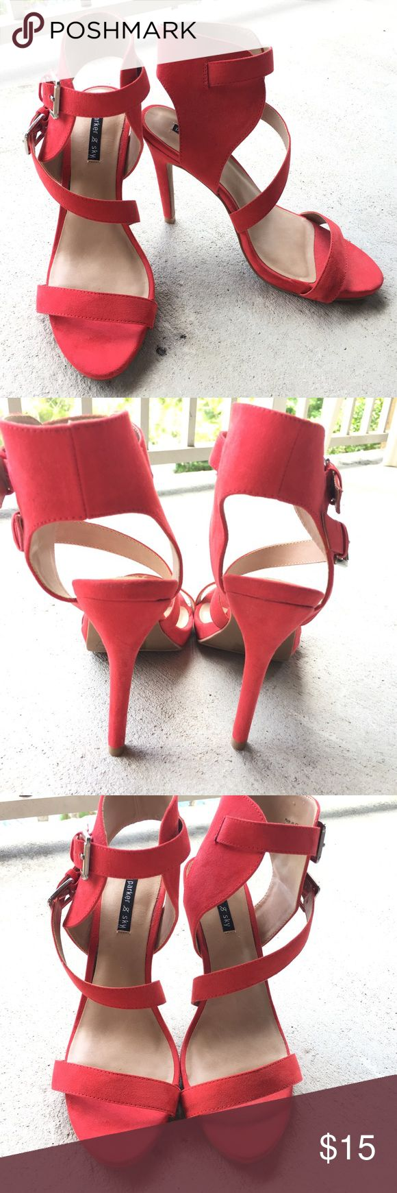 """Red strappy heels Worn only once, great condition! Just don't wear them anymore. About 4"""" heel- not too high! Shoes Heels"""