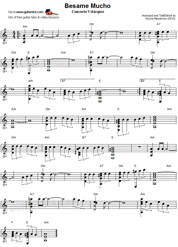 Besame Mucho Guitar Tabs Andrea Bocelli images