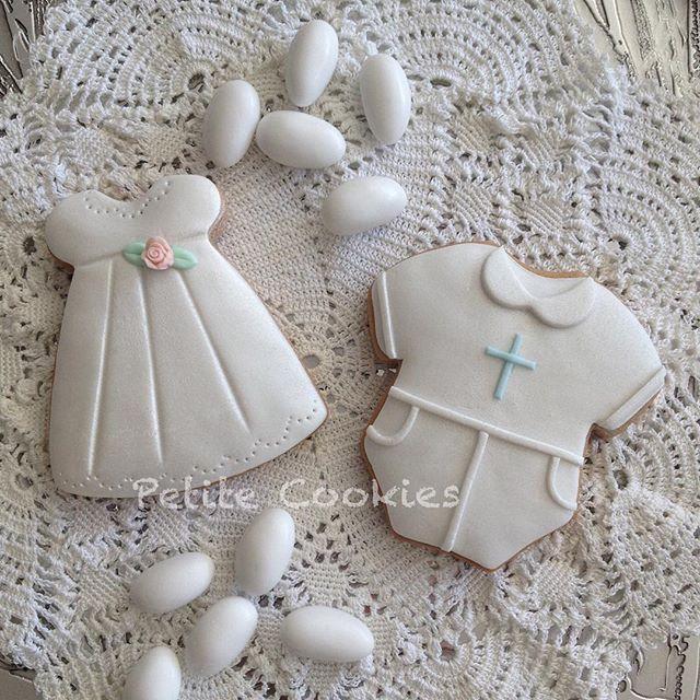 It's Christening season. Cookie bonboniere for twins this weekend. #petitecookies