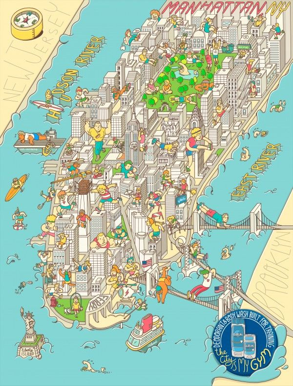 Illustration by Brosmind.  Gillette, Advertising, Print, Sports, NYC, Illustration, Design, Map