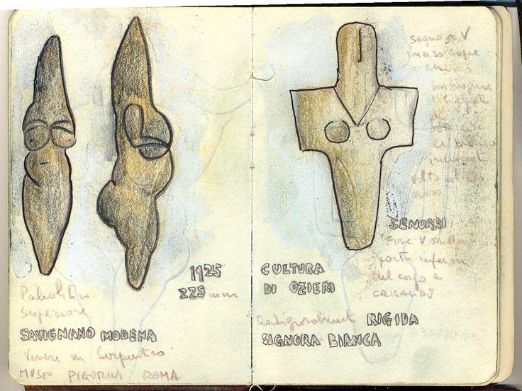 Sardinian neolithic pots and venus. From Cagliari (Sardinia Italy) museum and Savignano sul Panaro venus. Sketcher Riccardo Giunti sketchbook summer 2002. #riccardogiunti