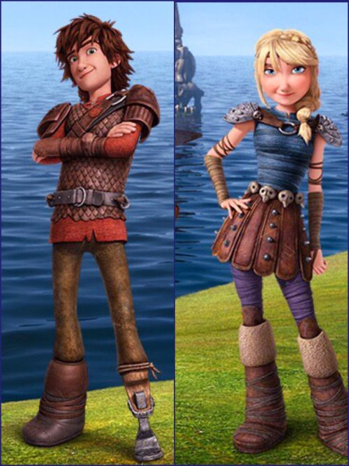 Hiccup and Astrid from Dreamworks Dragons Race to the Edge