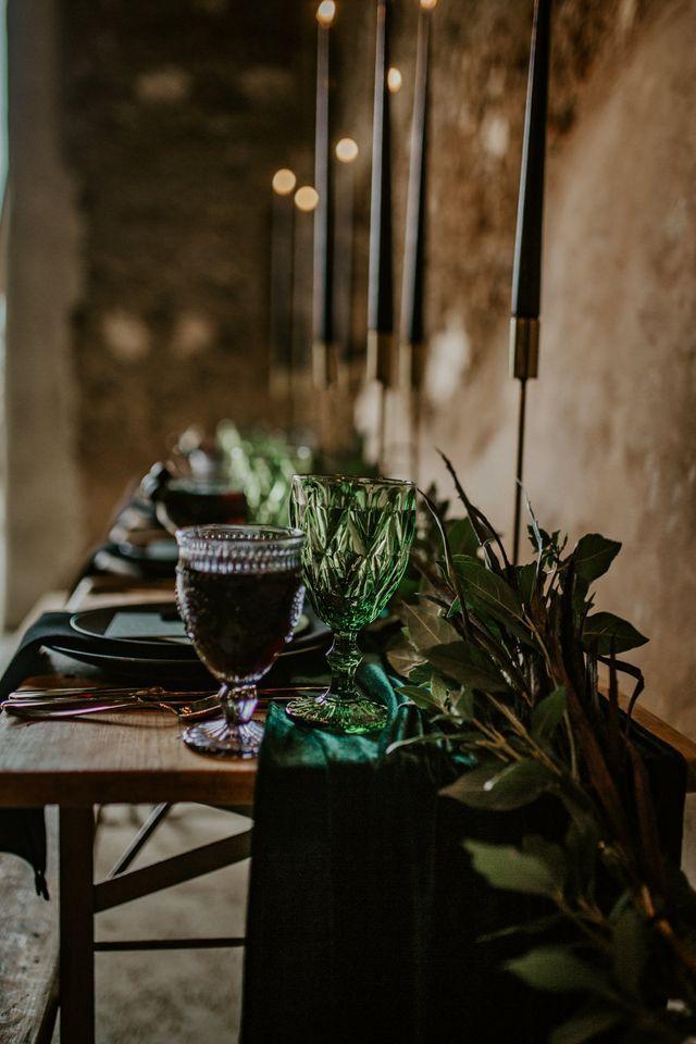 Forest Green Amp Black Dark Decadence Wedding Inspiration