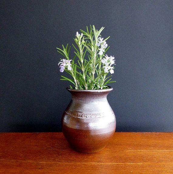 Vintage Bendigo Pottery Posy Vase, by Joseph Keene, 1980s, Australian Pottery, studio pottery, brown stoneware, small vase, V0349 offered by ecclecticmoi
