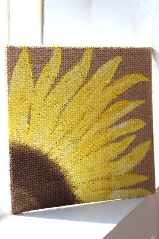 sunflower painting original on burlap canvas, 4x4 wall art, home decor