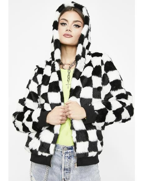 ae628497a It s All Good Checkered Jacket  dollskill  faux  fur  fuzzy  warm ...