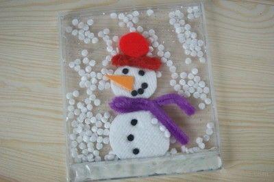 Bałwanek w opakowaniu po płytce CD  Snowman in a pack a CD. Snow globe