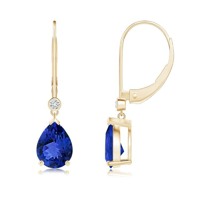 Pear Tanzanite Leverback Drop Earrings In Yellow Gold