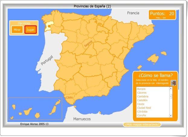 """""""Provincias españolas"""" (Juego de Geografía de Primaria y Secundaria)"""