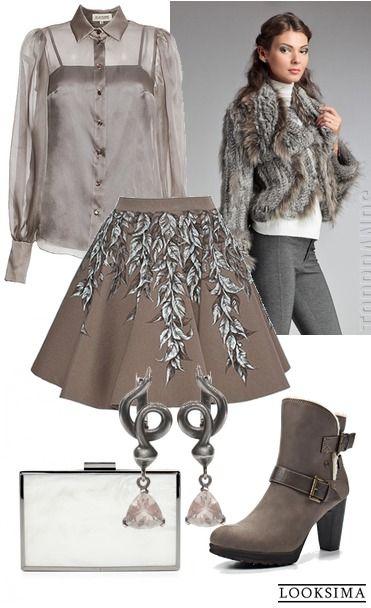 Можно блистать и привлекать взгляды без ярких цветов, металла и мини: дизайнерская юбка прямо с подиума, нежная блузка и столь же нежный мех создают образ женственный и романтичный. Добавьте легкие по впечатлению аксессуары - и вперед!