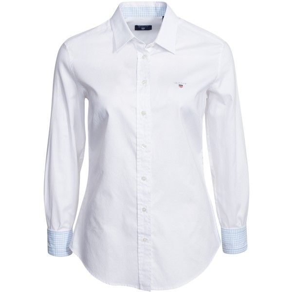 Gant Stretch Oxford Solid ($160) ❤ liked on Polyvore featuring tops, blouses, blouses & shirts, white, womens-fashion, round collar shirt, stretch shirt, slit shirt, white oxford shirt and white cotton shirt