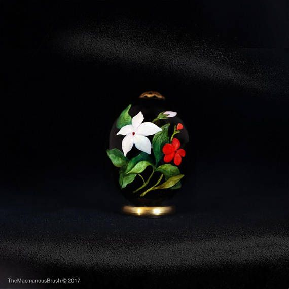 #Quail egg, #Jasmin and geranium, Green #leaves, #Veranda garden, #watercolor, #easteregg, #eggart