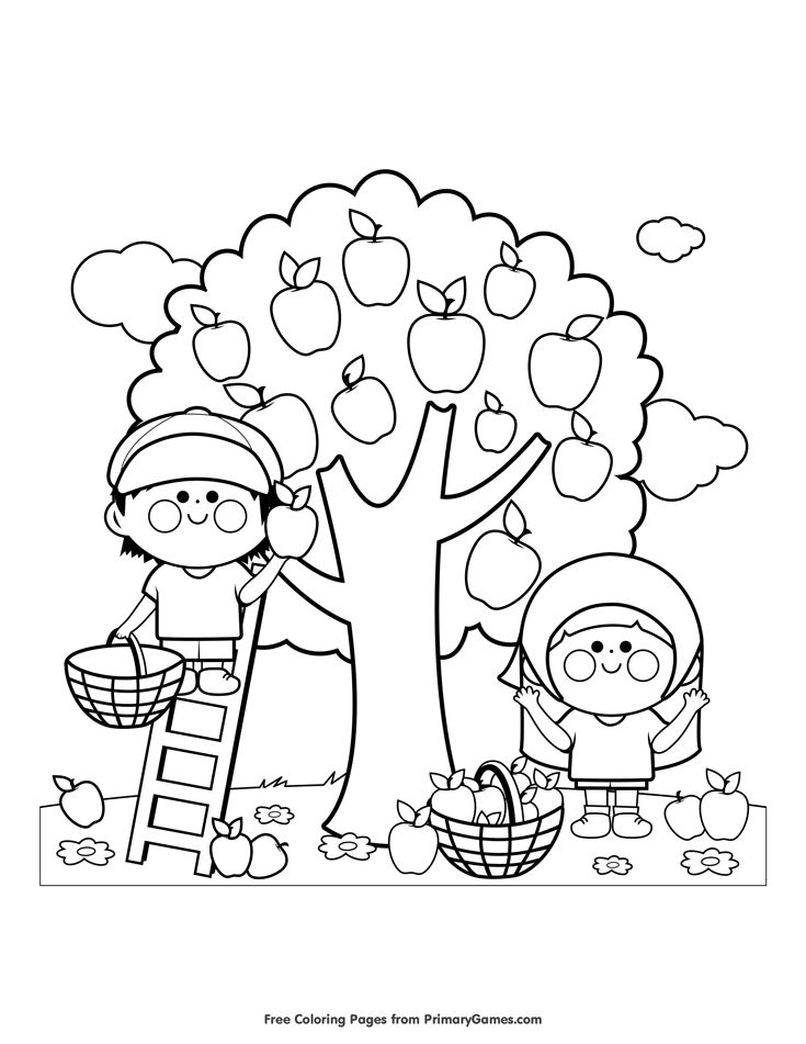 Fall Coloring Page Children Picking Apples