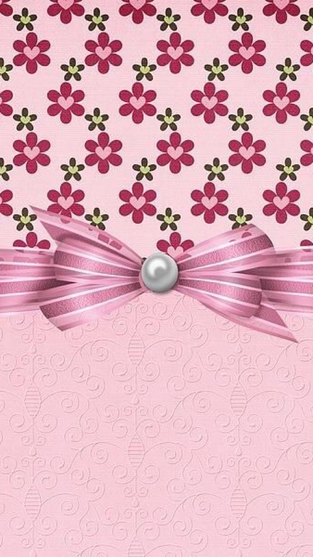 PINK FLOWERS WITH BOW •                                                                                                                                                     Mais