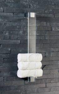 Glas Handtuchhalter Glas -Gästetuchhalter, Handtuchhalter für Gästetücher, Wandhalter, Glas+Chrom - Made in Germany
