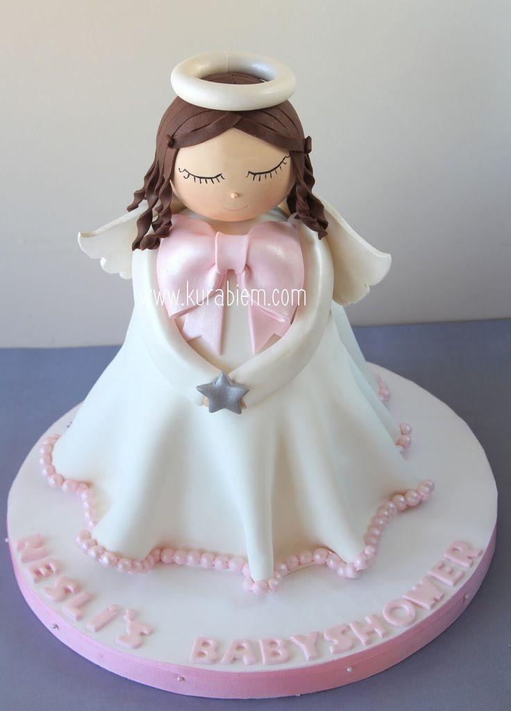 Angel cake , 3d angel cake , melek pasta , babyshower pastası , babyshower cake, kız figürlü pasta