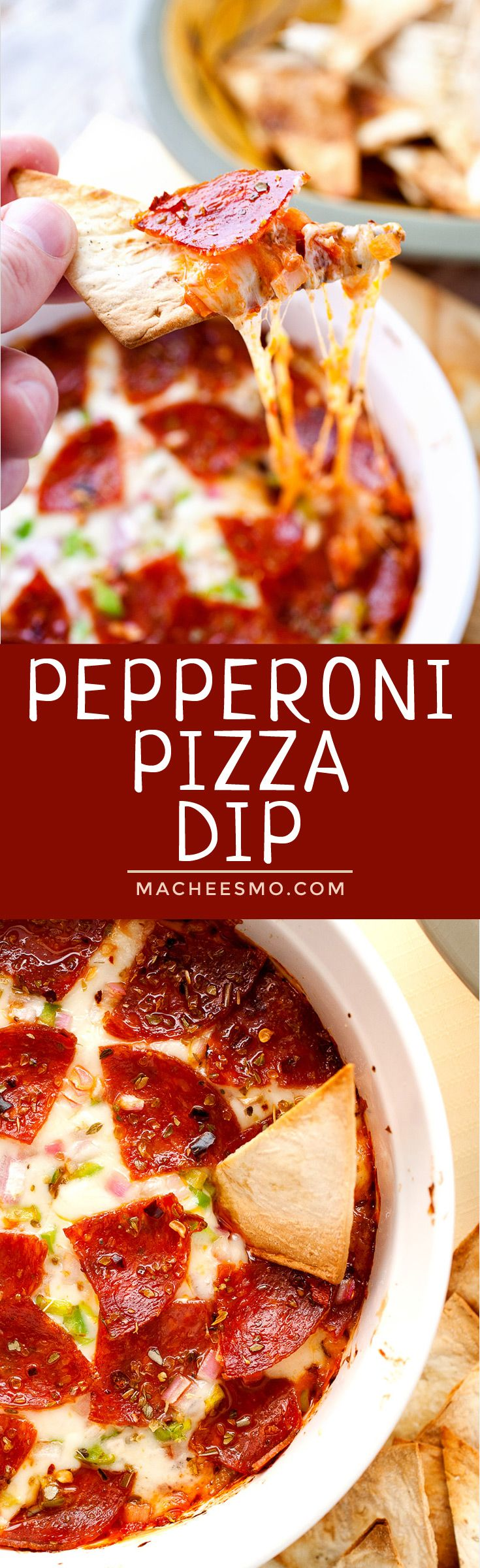 Pepperoni Pizza Dip: This dip is easy to toss together and tastes JUST like pepperoni pizza! I like to serve mine with baked Flatbread Pizza Chips (sponsored)! | macheesmo.com