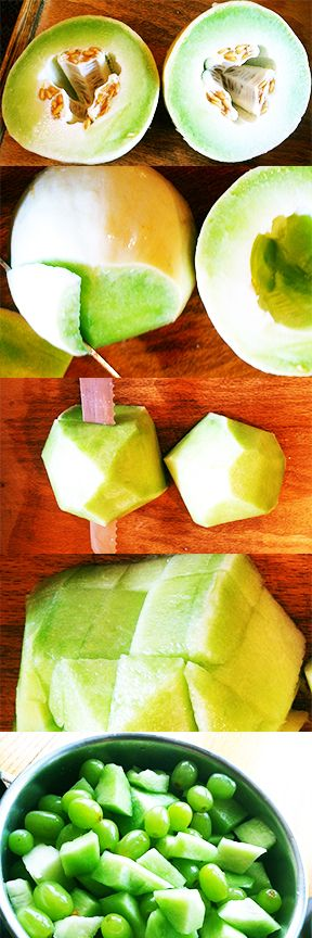 Time saver for cutting melons. Plus, a really easy fruit salad idea for lime lovers like me.