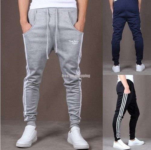 New 2015 Sweat Pants: Fashion Mens Jogging Running Sports Trousers Drop Crotch Harem Pants Skinny Slim Fit Sweatpants for Men
