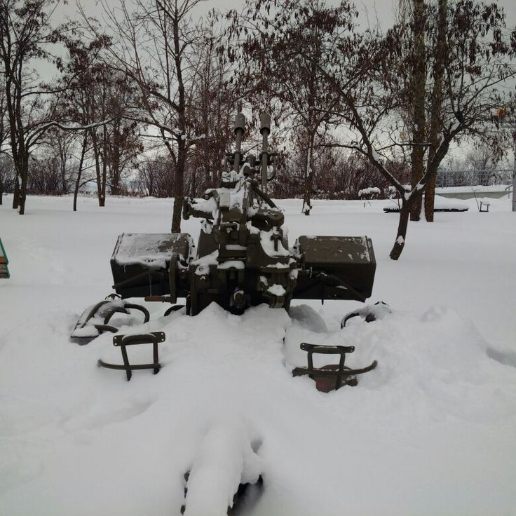 My Photo: Saratov city. The Park of the Victory. ZU -23-2. Deep in a snow. 3 February 2018.
