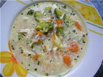 Суп из брокколи с сыром и хлопьями Геркулес : Первые блюда