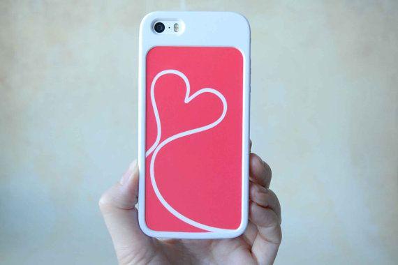 Phone Case, iPhone Case, Phone cover, Custom Phone Case, Coral Heart Backplate + iPhone Bumper Case