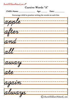 Cursive writing sheets make your own