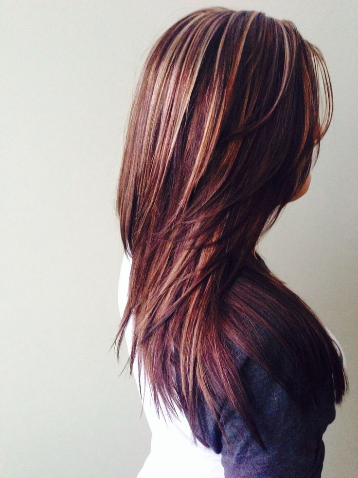 Dark brown color with blonde and caramel highlights. Layers and texturizing.