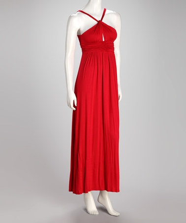 Take a look at this Crimson Halter Maxi Dress by Hourglass Lily on #zulily today!