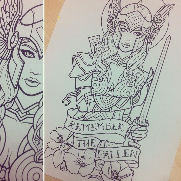 "121 mentions J'aime, 7 commentaires - Sam Phillips (@samphillipsillustration) sur Instagram : ""Working on a Valkyrie half sleeve tattoo for Bekki. #valkyrie #wingedhelmet #samphillips…"""