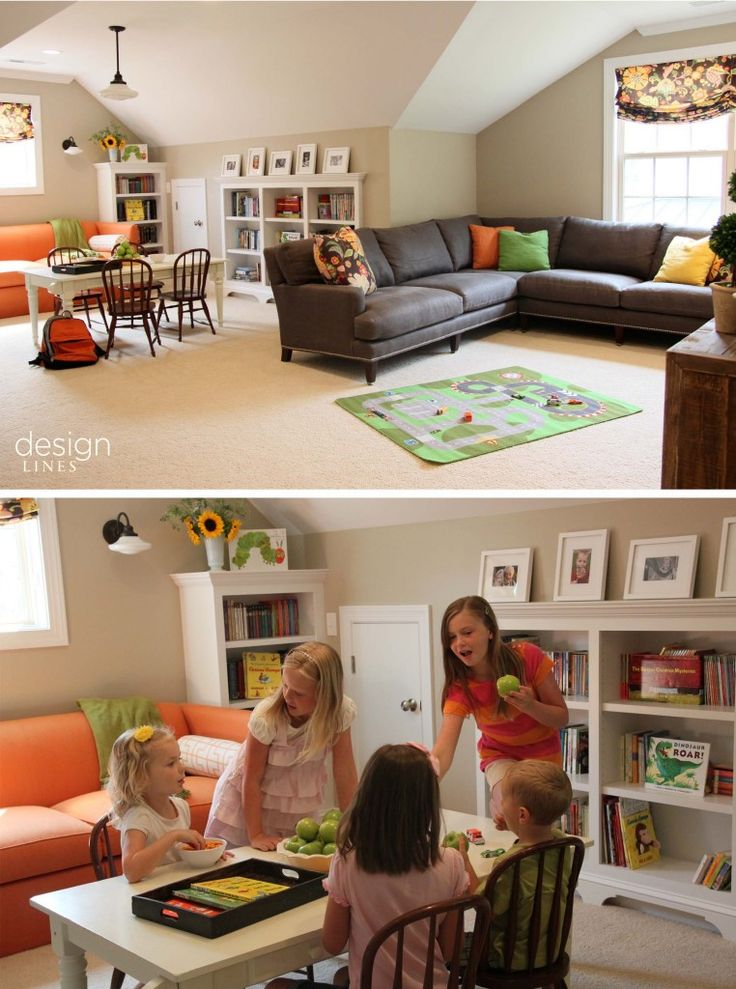 Current Projects: A Durham Playroom Goes Back To School In Style | I like the sleeper sofa and the l couch idea ,,hmmm..