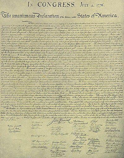 Date of declaration of independence in Sydney