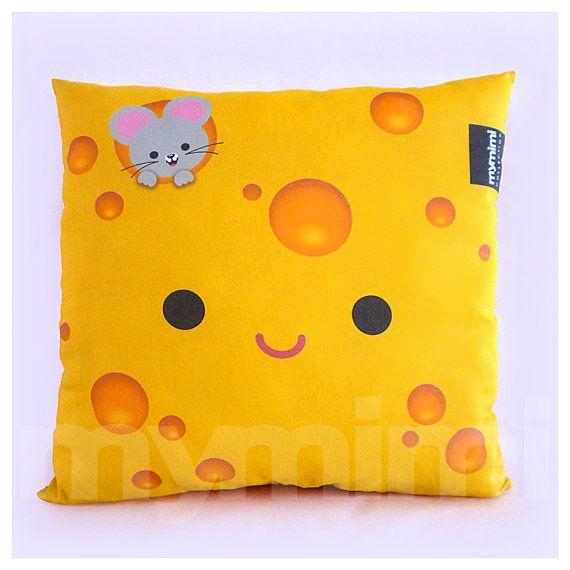 "Decorative Pillow, Cheese Pillow, Food Pillow, Cotton Pillow, Throw Pillow, Kawaii, Cushion, Room Decor, Dorm, Childrens Pillow, 16 x 16"""