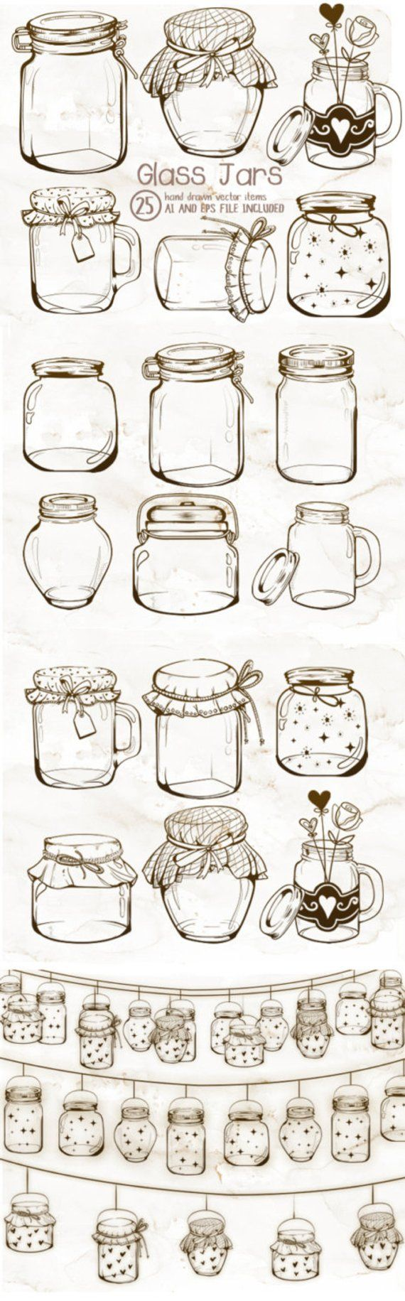 Glass Jars clipart, Mason Jars clipart, Vintage clipart, Jar crafts, Vintage Jars, Jar String Lights